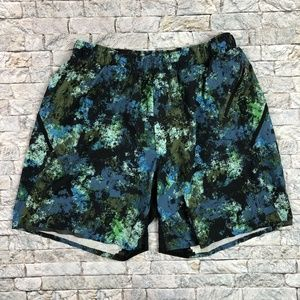 Lululemon Medium Blue Green Paint Splatter Lined M